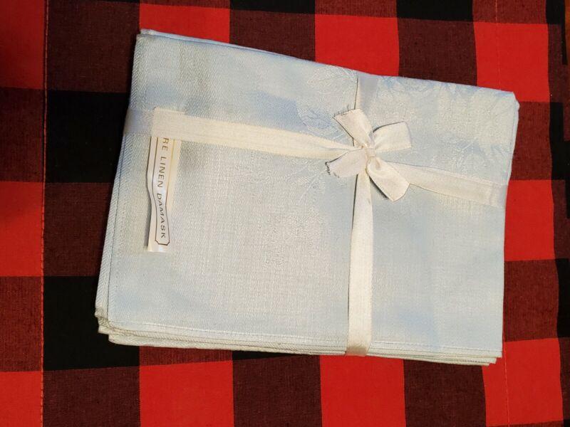 6 Vintage Fine Linen Damask Napkins Blue New OS