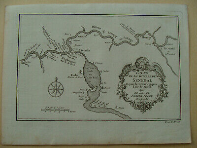 Antique 1746 Bellin 'Cours de la Riviere de Senegal' River. Morfil island