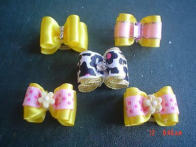 Pretty Yellow Mixed Show Style Dog Grooming Bows Mixed Centres