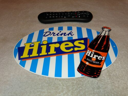 "VINTAGE ""HIRES ROOT BEER RECORD BOTTLE"" 12"" METAL SODA POP GASOLINE & OIL SIGN!!"
