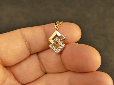 14K GOLD DIAMONDS INTERLOCKING SQUARES PENDANT W/ CHAIN 3.3  GMS TUCSON ESTATE