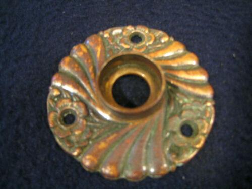 Single Antique Ornate Copper Door knob Rosette Backplate Escutcheon 1890