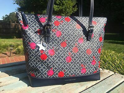 Tommy Hilfiger Womens Oversize Tote Bag Handbag Purse Large Blue Cherry NEW $99 Bag Womens Oversized Handbag