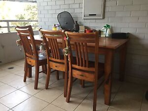 Solid wood dining table with chairs Westmead Parramatta Area Preview