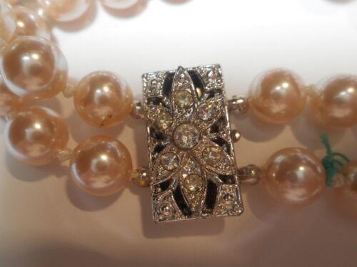 "Art Deco Rhinestone 2 Strand Majorca Faux Pearl 7 1/4"" BRACELET Mint w/ Label"