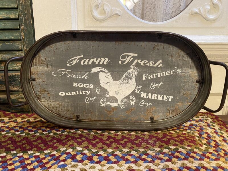 PRIMITIVE FARMHOUSE ROOSTER IRON GALVANIZED METAL WOOD SERVING TRAY WALL DECOR