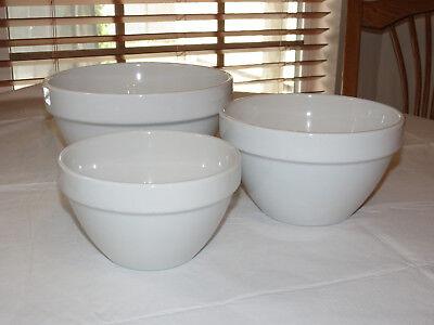 Unbranded Plain White Bowls Set Of 3 Bowls Nesting Mixing Bake Serve Ceramic