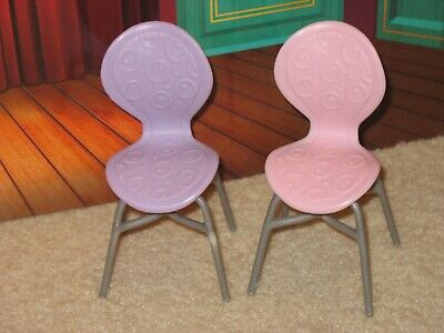 Lot of 2 Barbie Dining Room Kitchen Chairs Furniture  Pink & Purple VGC