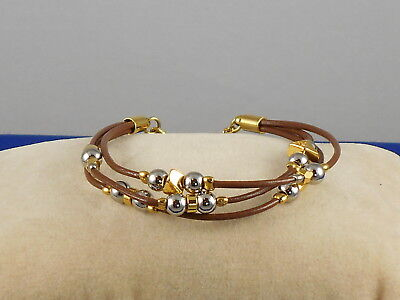 Triple Strand Leather - Fossil Brand Goldtone Two Tone Beaded Brown Leather Triple Strand Bracelet $48