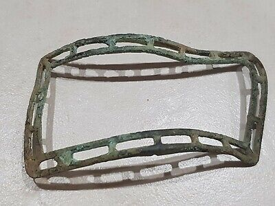 Huge 17/18 hundreds copper alloy shoe buckle uncleaned found in England. L97t