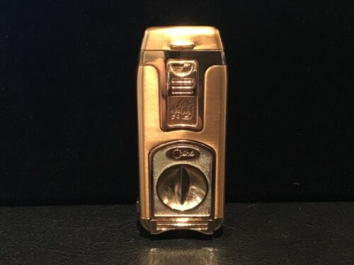 NWT $89 AUTHENTIC SIGNED COLIBRI QTR-988 GOLD GUILLOTINE CUTTER LIGHTER NO RES