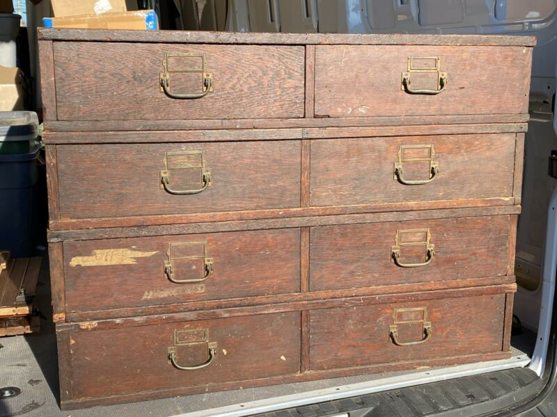 Anitque Factory Parts Cabinet, 4 Sections, Old Hardware, Mill Building Furniture