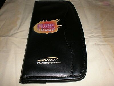 New Black Leatherette Business Card Organizer With Front Pocket - Holds 48 Cards