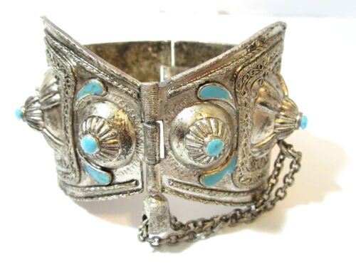 WIDE TRIBAL ETHNIC ORNATE SILVER TONE HEAVY HINGED BRACELET WITH