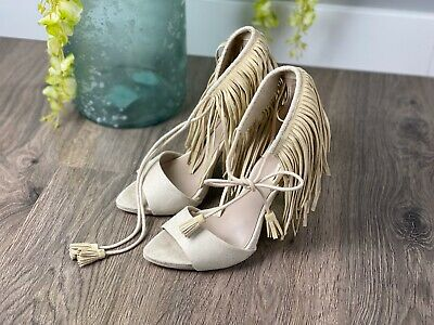 Zara Womens Fringe Studded Strappy Heels Beige Shoes Size EU 40 Basic Collection