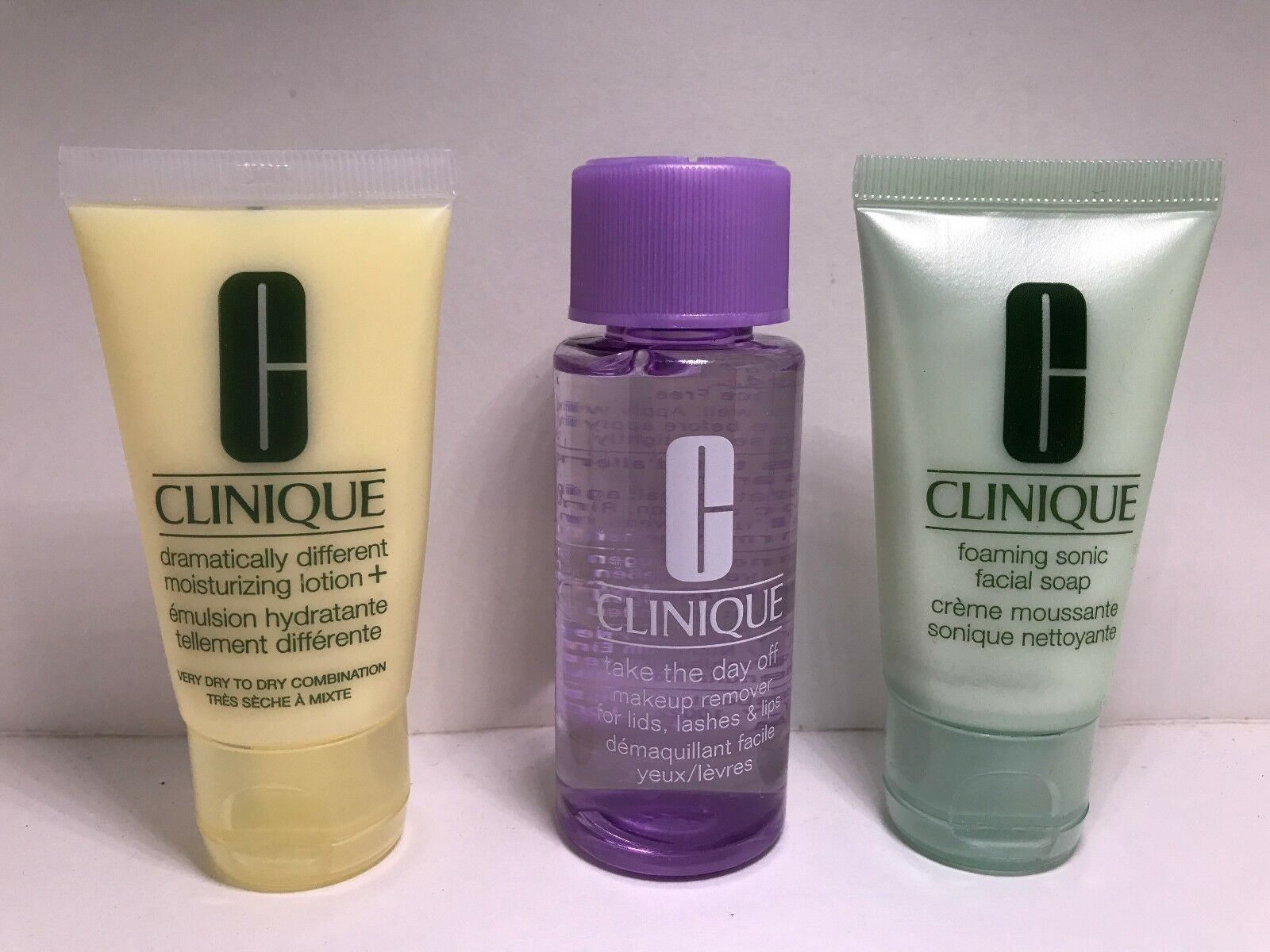 CLINIQUE 3 STEP TRAVEL SET SKINCARE KIT soap/makeup remover/
