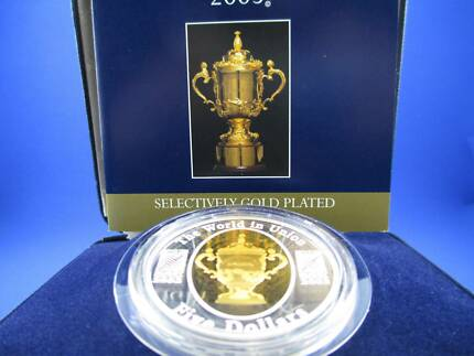 2003 $5 1oz Silver Proof Gold Plated Coin - Rugby World Cup