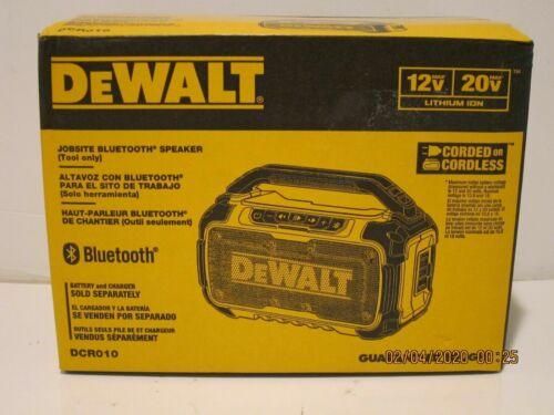 DEWALT DCR010 12V/20V-MAX JOBSITE Bluetooth Speaker CORD/CORDLESS NISB FREE SHIP