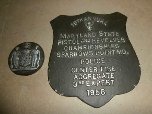 Vintage 1958 Maryland State Pistol Revolver Championships Plaques Sparrows Point