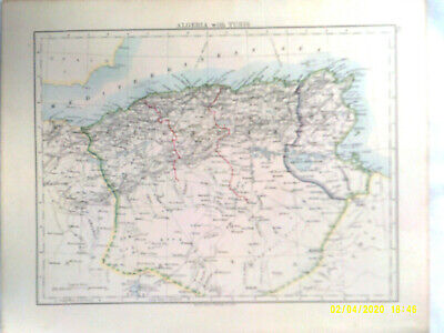 Double-sided Antique Map. ALGERIA with TUNIS. /  AFRICA (Physical). 1895. VG.