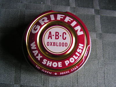Vintage GRIFFIN WAX SHOE POLISH A.B.C OXBLOOD Made USA -1 5/8 Ozs. Full - UNUSED