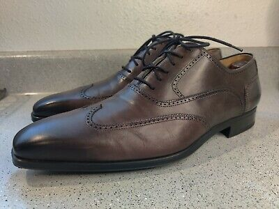 MAGNANNI 10.5 M Lace Up Oxford Wing Tip Burnished Model 12055 Gray Brown