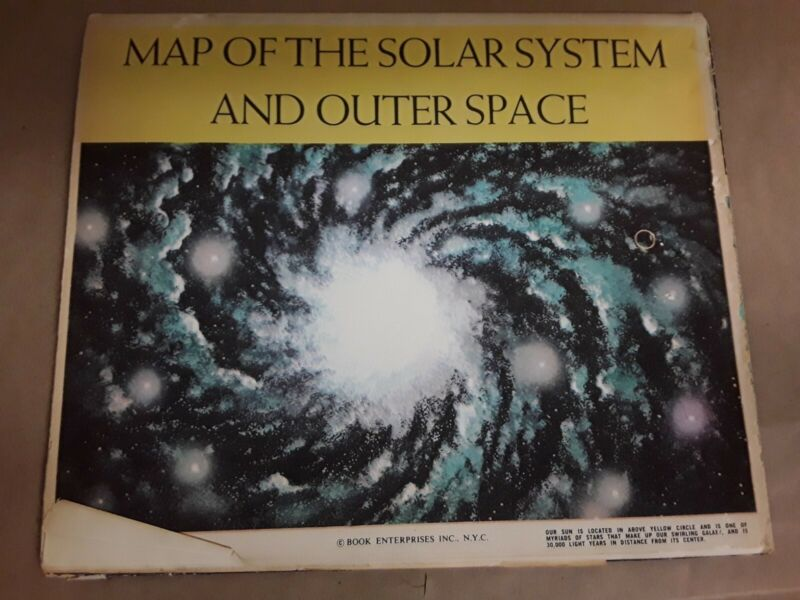 """1960 Vintage Map of the Solar System & Outer Space 48"""" x 35"""" Book Enterprise TLC"""