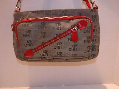 Kipling Small Tan with Red Trim & Handle Purse
