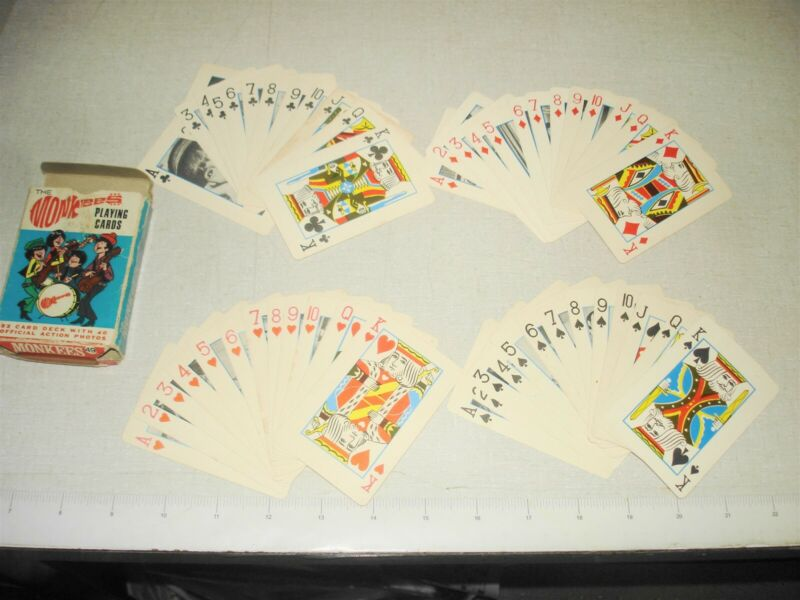 1966 THE MONKEES Playing Cards 51/52 Deck Ed-U-Cards Raybert