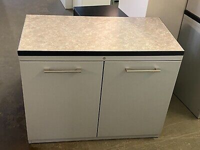 29h Metal Storage Cabinet By Haworth Office Furniture Wlaminate Top Wlockkey