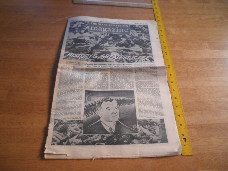 Stars and Stripes July 1945 Weekly Supplement German War trials Holocaust