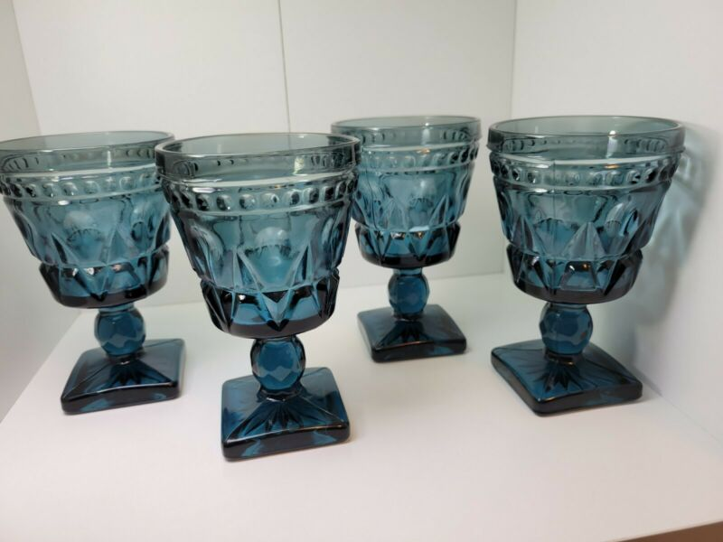 """Vintage Colony Park Lane Indiana Blue/Teal Juice Footed Glass Set Of 4 4.5"""""""