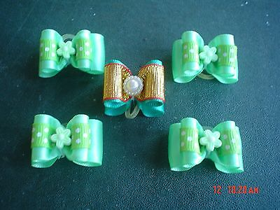 Pretty Green Show Style Dog Grooming Bows Mixed Centre #1