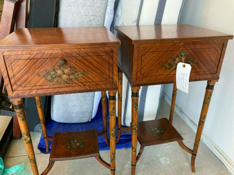 Pair of Adams hand-painted bedside tables