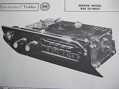 1958 PLYMOUTH MOPAR 848, P-5801 RADIO PHOTOFACT