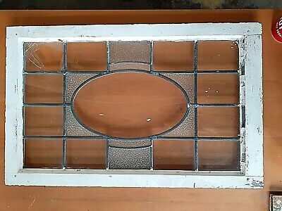 Antique Victorian STAINED GLASS WINDOW PANEL Leaded Framed 91cm x 58cm