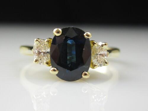 Sapphire Diamond Ring 18K Yellow Gold Three Stone Fine Jewelry Estate Genuine