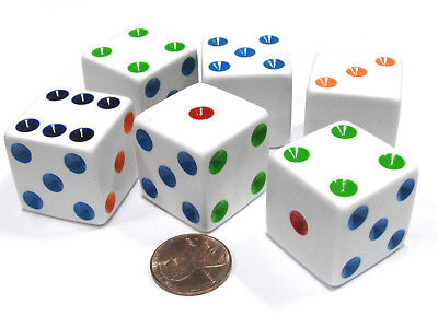 Set of 6 D6 25mm Large Opaque Jumbo Dice - White with Multicolor Pip - Jumbo Dice