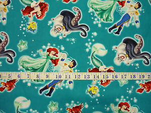 Disney The Little Mermaid Ariel and Eric Toss Turquoise Quilting Fabric 1/2 YARD