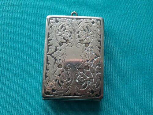Antique Dance Purse Sterling Silver Case Engraved Chatelaine Hinged