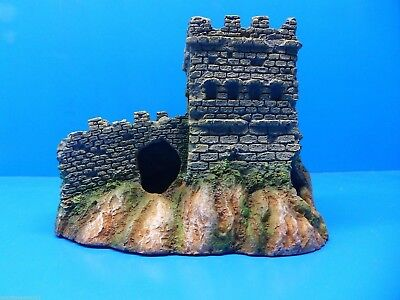 MEDIEVAL CASTLE KEEP AND WALL RUINS WR052 AQUARIUM RESIN FISH TANK DECOR - Medieval Castle Decorations