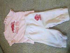 3-6 months Roots diaper shirt and track pants