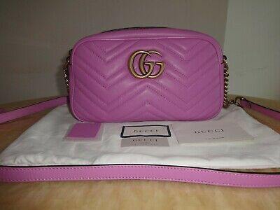 Gucci GG Marmont Small Matelassé Crossbody Bag 447632 New Pink