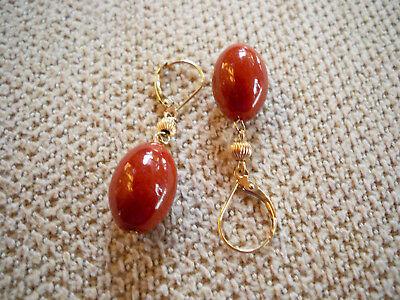 14KT Yellow Gold 8mm Oval Carnelian Bead Leverback Drop Dangle Earrings GST Red