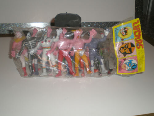 MEXICAN WRESTLERS 12 Vintage Plastic LUCHAS Libre Toys FREE S/H Un-Opened NOS