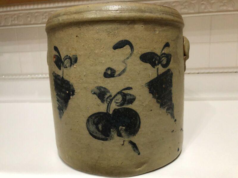 Antique stoneware crock, cobalt blue apples/grapes design, Marked #3