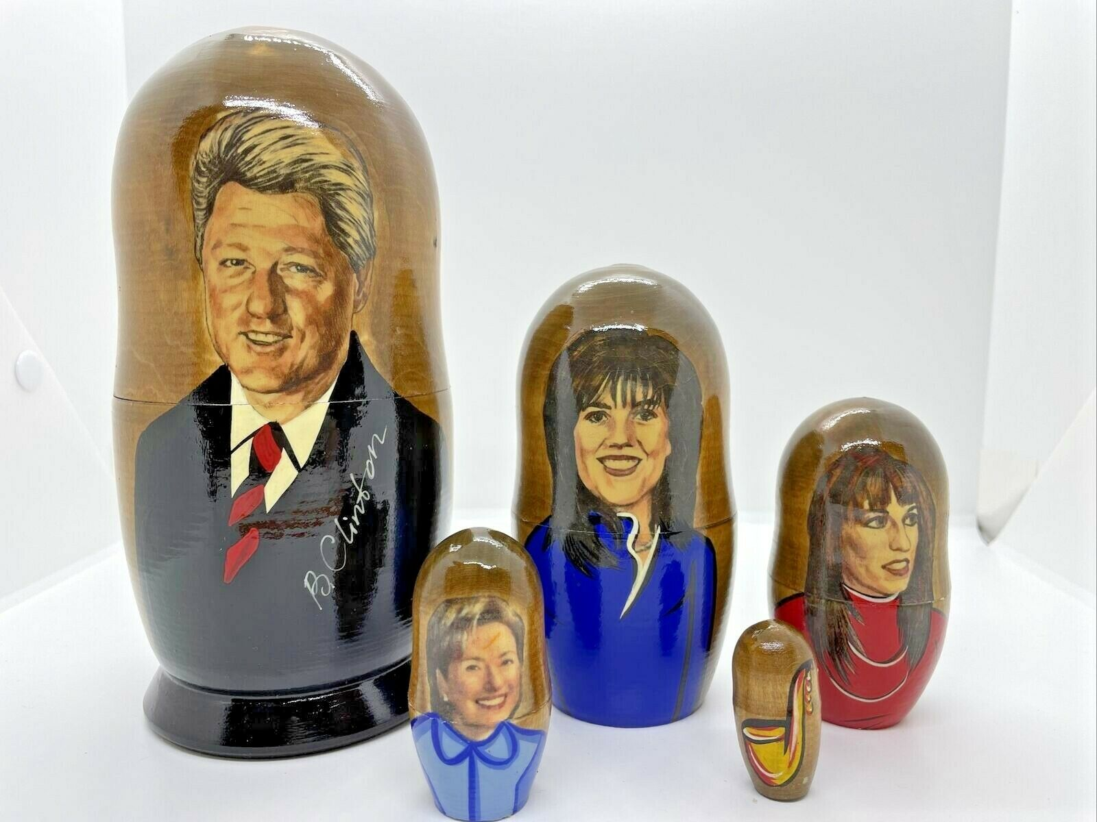 Russian Matryoshka Nesting Doll President Bill Clinton Hillary, Monica, Jones - $56.95