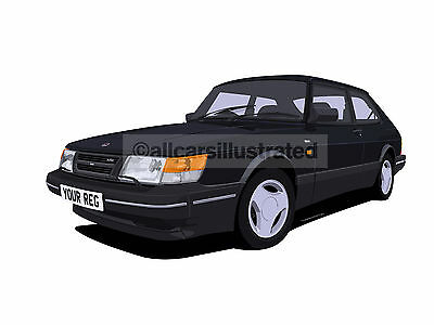 SAAB 900 GRAPHIC CAR ART PRINT (SIZE A3). PERSONALISE IT!