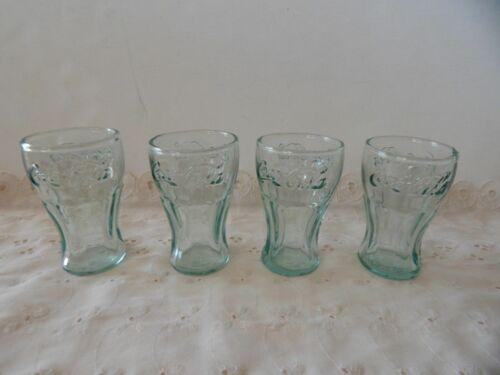 "Set Of 4 Vintage Green Glass Coca Cola Coke Glasses 3"" Mini Glasses Shot Juice"