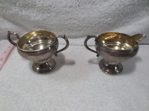 Antique FB Rogers Silver Co Sterling Silver Creamer & Sugar Bowl 1883 weighted